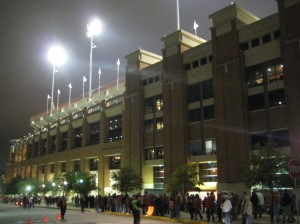 Post-game, outside the east side of Darrell K. Royal-Texas Memorial Stadium.